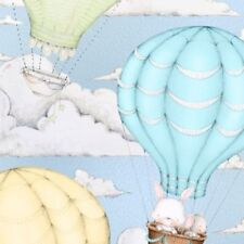BonEful FABRIC FQ Cotton Quilt Blue White Cloud Sky Hot Air Balloon Country Star