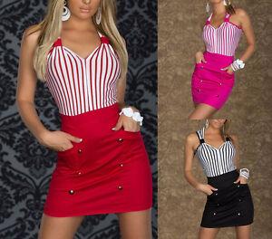 Vestito-da-donna-corto-abito-vestitino-damigella-cerimonia-party-ballo-a-righe