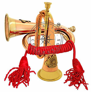 Brass-Bugle-With-Silk-Rope-Tassel-Australian-Military-Forces-Copper-Plated-Horn