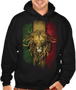 4d9f8ffa045d Men s Rasta Flag Lion Black Hoodie Reggae Rastafarian Ganja Marley ...