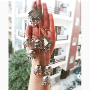 Indian-Traditional-Bollywood-Silver-Oxidized-Mugal-3-Jhumka-Jhumki-Earrings-M-55
