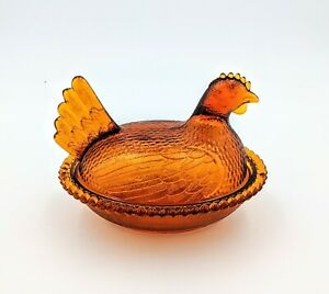 Vintage-Indiana-Glass-Dark-Amber-Hen-on-Nest-Excellent-Condition-Large