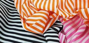 Striped-Polycotton-fabric-1CM-Stripes-Black-Orange-Pink-Stripe-Free-Samples-UK