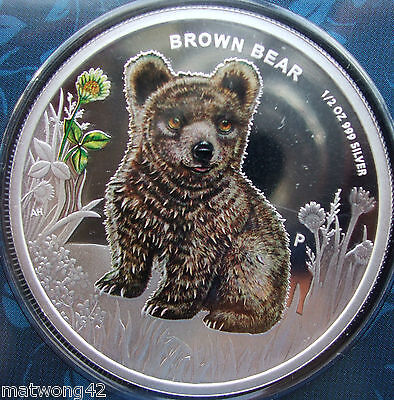 2013 TUVALU FOREST BABIES 50C CENTS 1//2 OZ PURE SILVER PROOF COIN BROWN BEAR