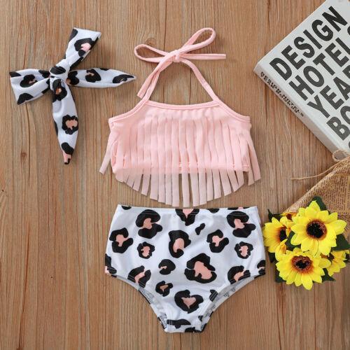 Toddler Kids Baby Girls Tassel Sunflower Summer Swimwear Swimsuit Bikini Outfits