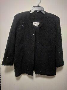 N Touch Women's Black 3/4 Sleeve Sequins Open Front Sweater Blazer Jacket 16