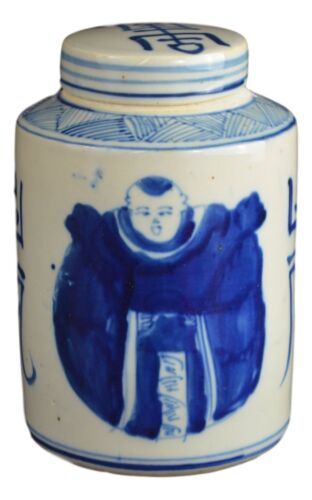 Ch... Antique Style Blue and White Porcelain Good Luck Ceramic Covered Jar Vase