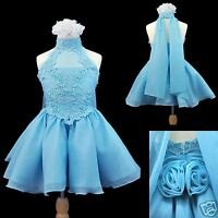 Toddler Girl Pageant Dance Formal Flower Girl Short Aqua Blue Dress 2 3 4 5 6 7