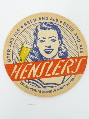 1940s Newark NJ Hensler Beer /& Ale 4¼ inch Coaster Tavern Trove