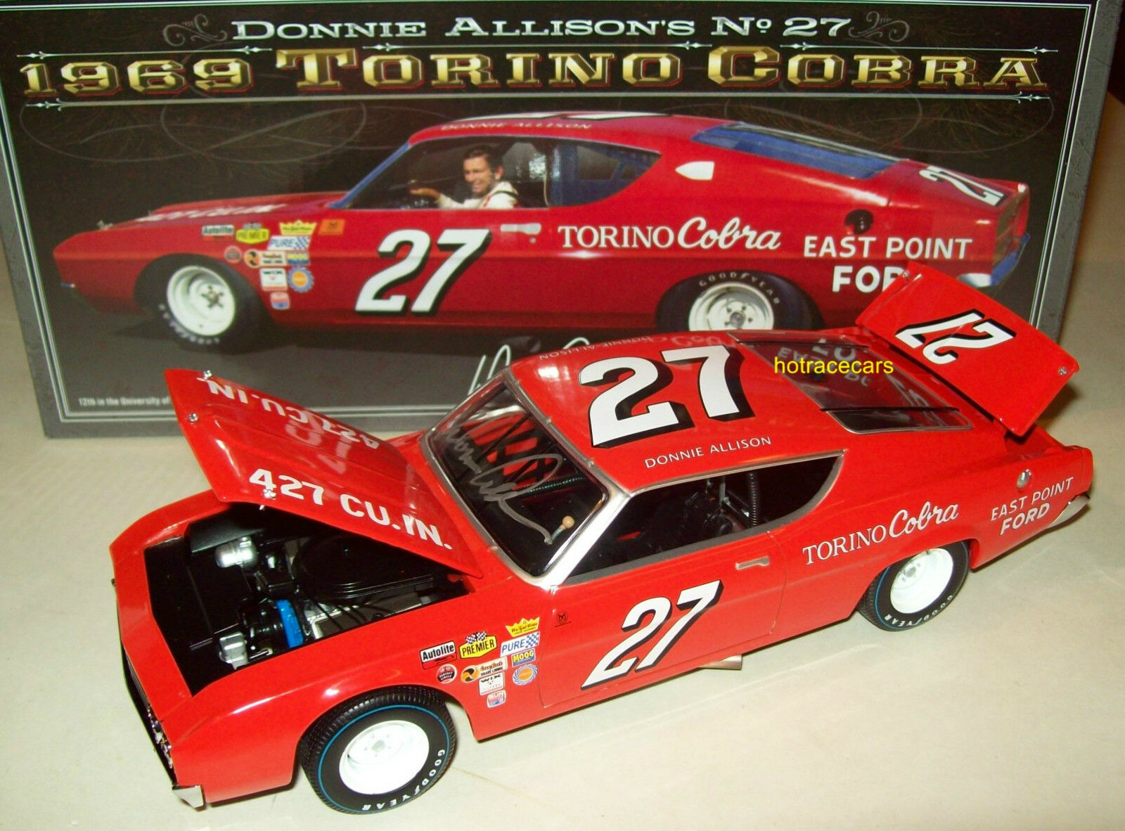 Donnie Allison 1969 East Point Ford  27 Torino Cobra Signed Autograph 1 24 New
