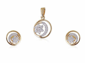 Stunning-0-52-Cts-Natural-Diamonds-Pendant-Earrings-Set-In-Solid-14K-Yellow-Gold