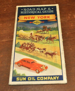 Sun-Oil-Company-Sunoco-NEW-YORK-Road-Map-amp-Historical-Guide-30s-or-40s-GREAT-ART