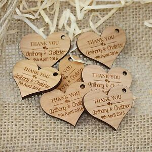 Personalised Engraved Wooden HEART Wedding Gift Tag Wth Jute String Rustic Wood
