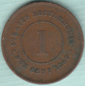 Straits Settlements 1897 Queen Victoria 1 cent copper coin N41