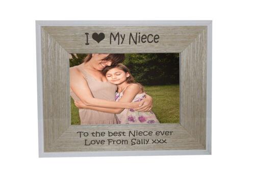 I heart-love ma nièce 6 x 4 cadre photo blanc bord cadre en bois-gravure gratuite