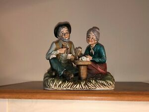 Large Vintage Bisque Porcelain Figurine, Painted Old Couple at Tea / Coffee Time
