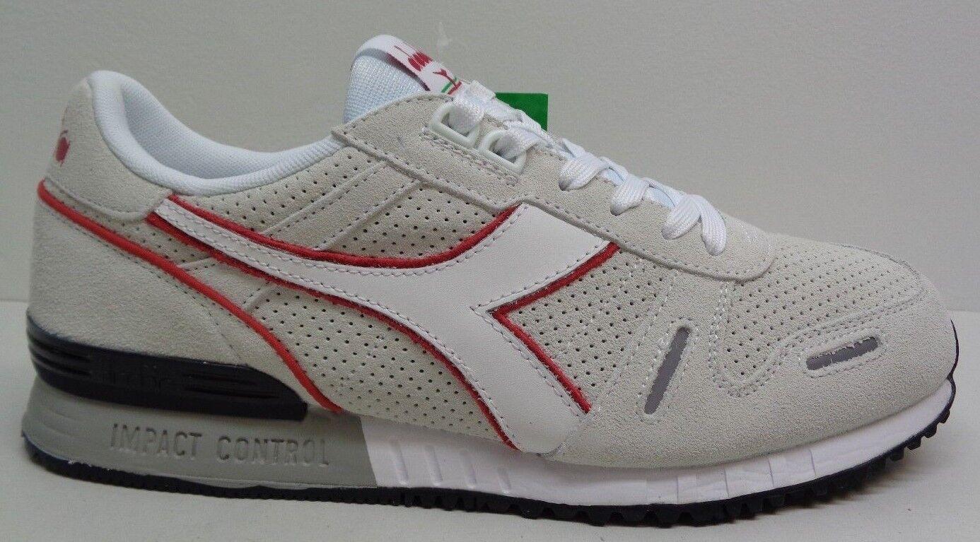 Diadora Size 12 TITAN PREMIUM White Chili Pepper Suede Sneakers New Mens Shoes