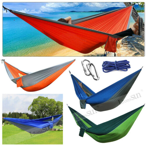 Double Camping Hammock 2 Two Person Outdoor Parachute Tent Travel Hanging Nest