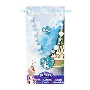 Disney Princess Frozen Olaf Heart Necklace & Ring Set Sparkly Snowflakes NWT