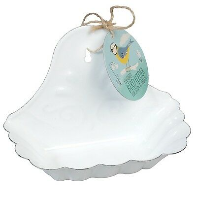 dotcomgiftshop WHITE ENAMEL BIRD FEEDER