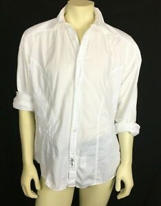 Claudio Milano Men's Casual Shirt White Embroidered