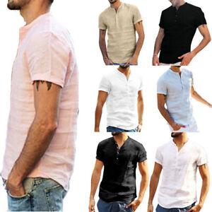 Men-Linen-Short-Sleeve-Summer-Plain-Shirts-Casual-Beach-Holiday-Buttons-T-Shirt