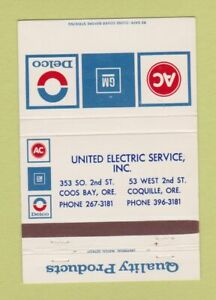 Matchbook-Cover-AC-Delco-GM-Auto-Parts-Coos-Bay-Coquille-OR-40-Strike