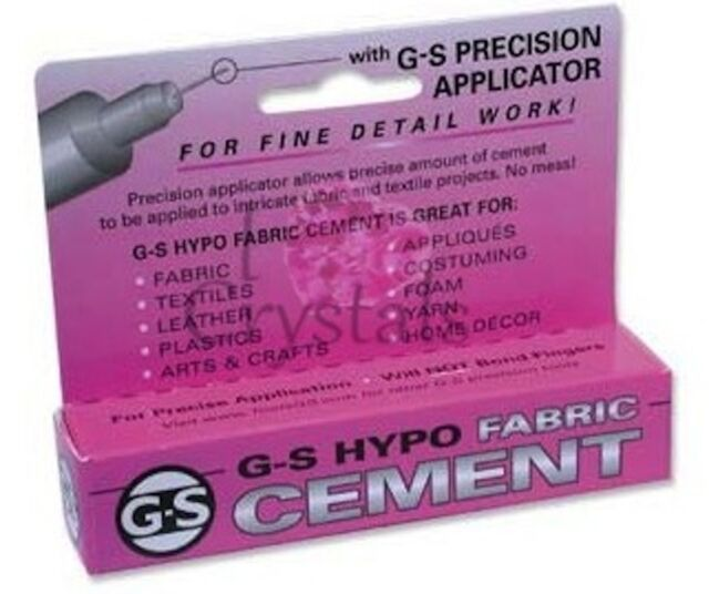 G-S Hypo Cement Fabric Glue Rhinestone Crystal Craft Jewelry Adhesive 1/3 oz GS