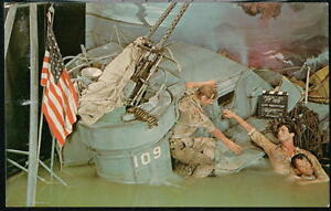 BUENA-PARK-CA-Movieland-Wax-Museum-PT-109-Navy-Lt-JFK-amp-Crew-Vintage-Postcard