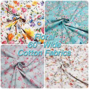 Summer-Floral-100-Cotton-150cm-60-034-Wide-Dressmaking-Craft-Fabric