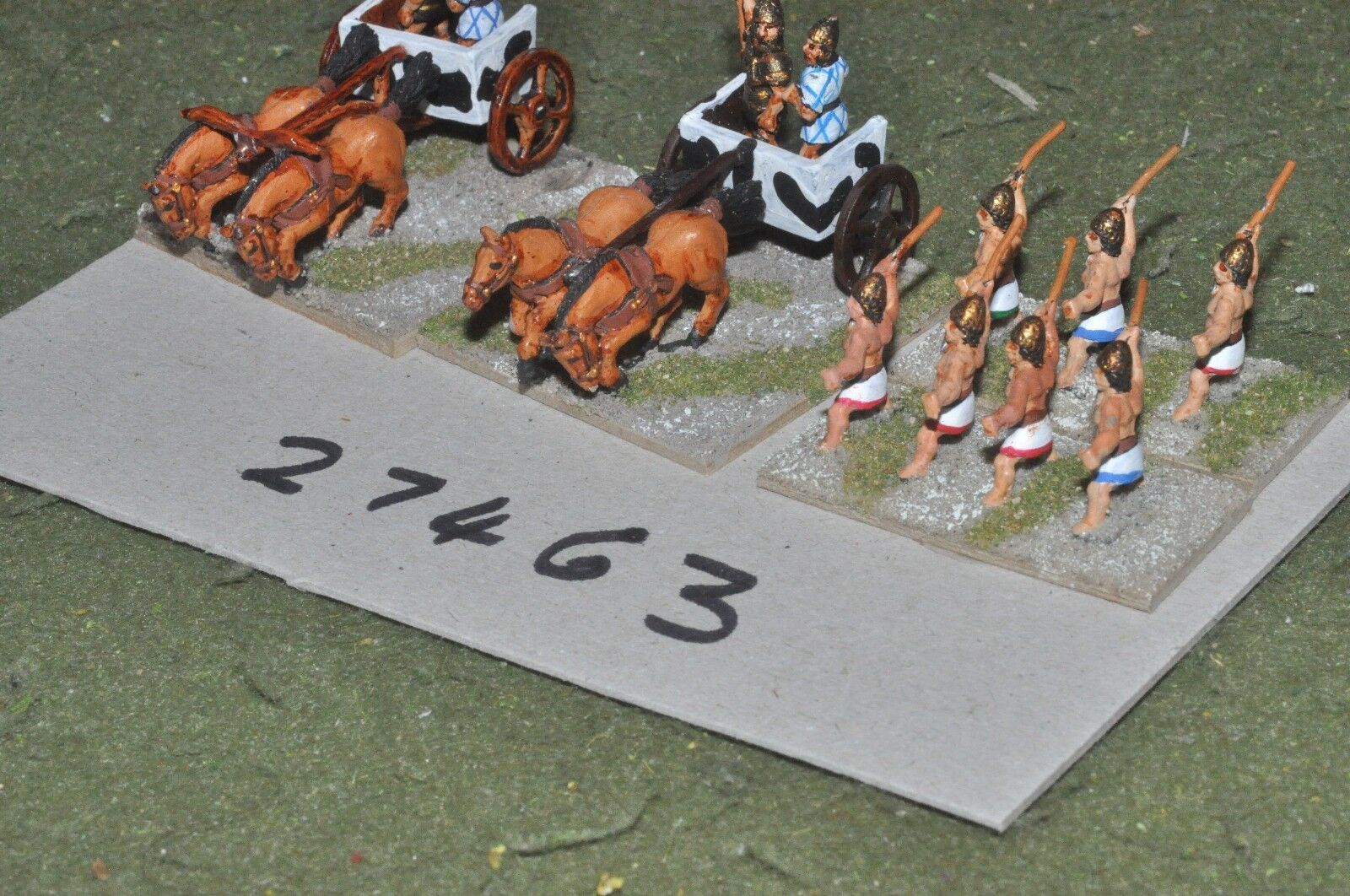 15mm biblical   mycenean - 2 light & escort - chariot (27463)