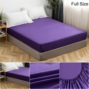 MOHAP 4PCS Bed Sheet Set Bottom Fitted Sheet Microfiber Dark Purple Full Size US