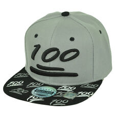 One Hundred 100 Points Emoji Emoticon Flat Bill Snapback Hat NWT