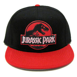 404f745a8 Details about Jurassic Park Movie Logo Red Patch Flat Bill Snapback Red  Black Cap Hat - JR07