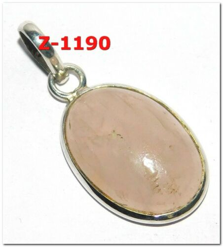 Pearl Rose quartz Natural Gemstone 925 Solid Sterling Silver Pendant Jewelry
