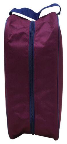 "Acclaim Beal Shoe Boot Bag Bordeaux Bleu Marine Bordure zippée haut 14/"" X 6/"" X 5/"" MRP £ 4-99"