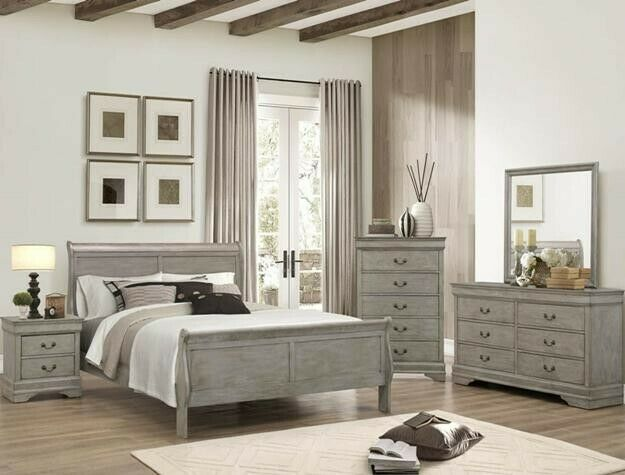 4Pc Queen Sleigh Bedroom Set Louis Philippe Grey finish
