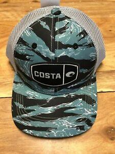 f415ecd62d2 BRAND NEW COSTA DEL MAR MESH ADJUSTABLE CAP HAT TIGER CAMO TRUCKER ...