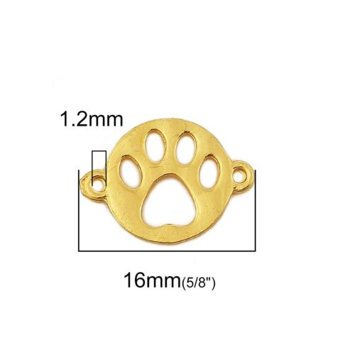 Dog Paw Connector Gold Plated  Bear Charms Pack of 4