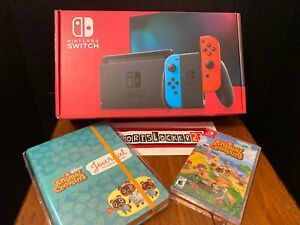 Nintendo-Switch-Blue-Red-Animal-Crossings-Game-amp-Journal-Bundle-New-In-Hand
