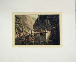 Original-Old-Antique-Print-1850-Hand-Coloured-View-Mountain-Bridge-Cliffs-19th