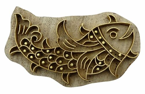 Brass wooden Carved Wood Textile Decorative fish Pattern Print Wooden Stamp