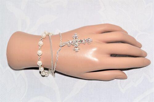 Pulsera De Perlas Diamante Cruz Bautizo Sagrada Comunión Bautizo Rosario Boda