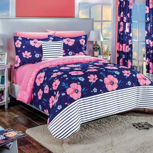 Camelia Blue with Pink Floral Reversible Comforter Set by Intima Hogar