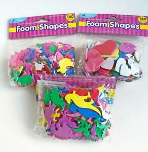420pc-Foam-Craft-Shapes-3-packs-Dinosaurs-Hearts-Farm-Animals-Self-Adhesive-New