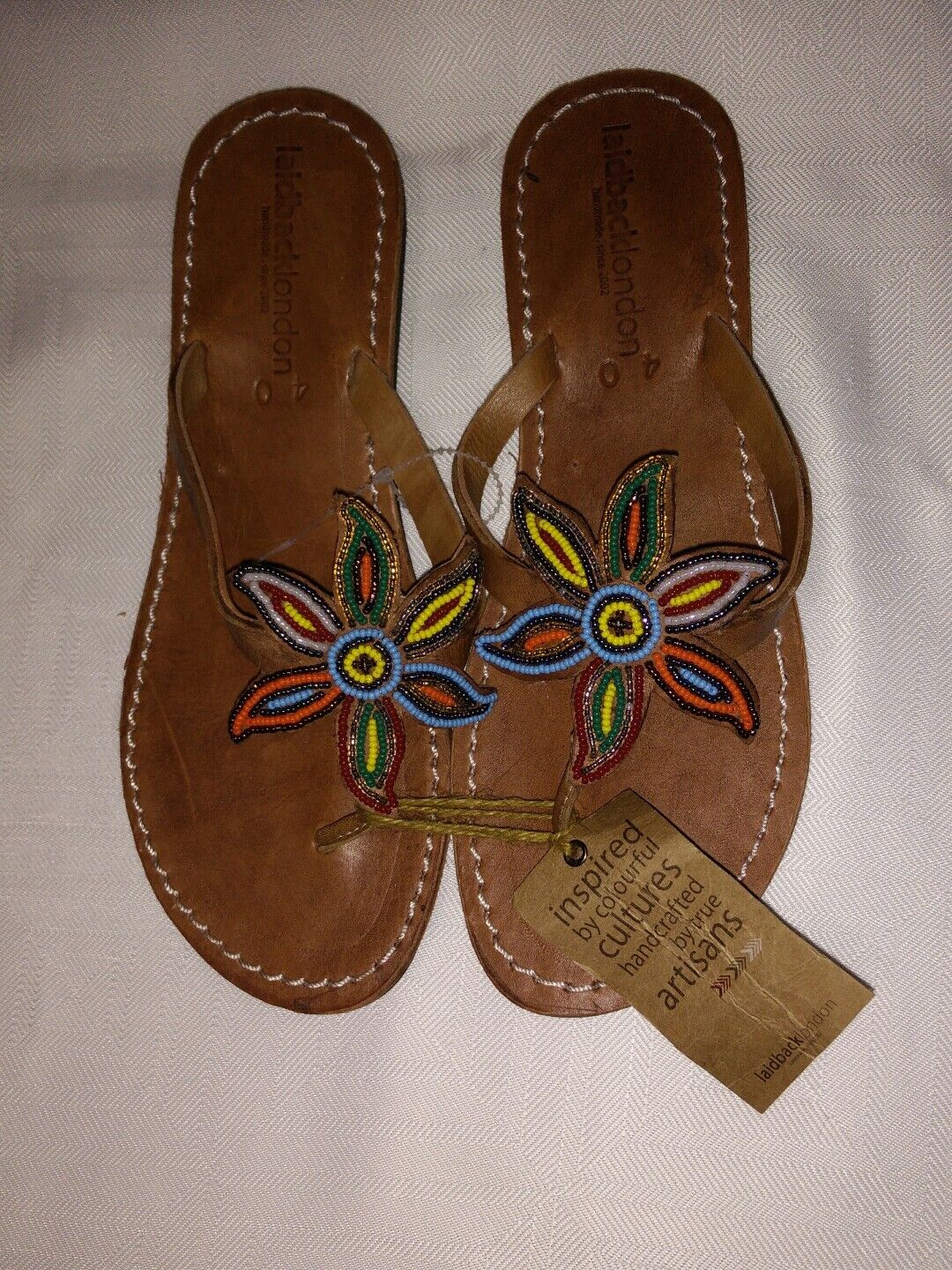 NWT LAIDBACK LONDON Anthropologie Leather sandals beaded floral handmade 40 9.5