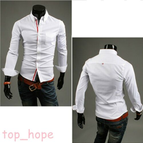 Casual Mens Button Striped Slim Long Sleeve Wedding Suit Dress Shirts Tee Tops