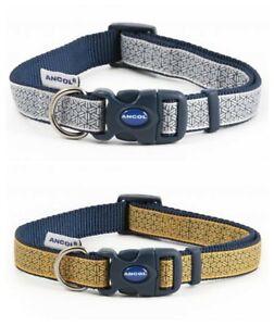 Ancol-Fashion-Geometric-Mustard-Grey-Adjustable-Nylon-Dog-Puppy-Collar-Lead