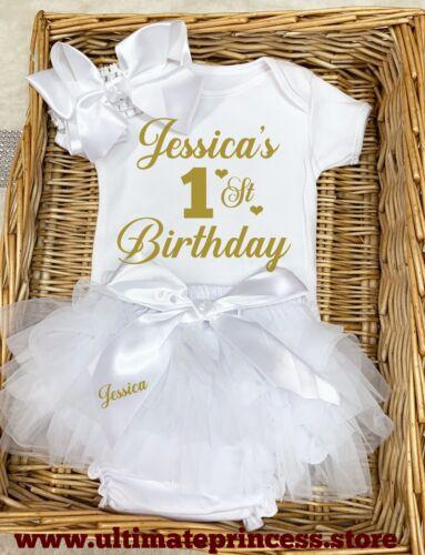 Baby Girl/'s Premier Anniversaire Froncé PANTALON//CULOTTE BOUFFANTE tenue Gâteau Smash personnalisé