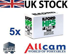 5-ROTOLI-DI-Ilford-HP5-Plus-400-135-35mm-36-Esposizione-Professional-B-amp-W-Pellicola-NUOVA